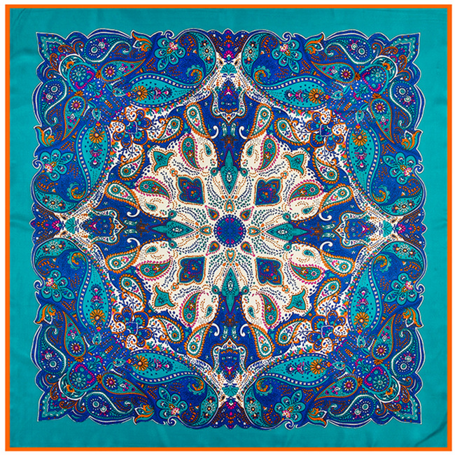 [POBING]100% Twill Silk Square Scarf Women Bohemia Style National Wind Cashew Printed Bandana High Quality Foulard Big Hijab