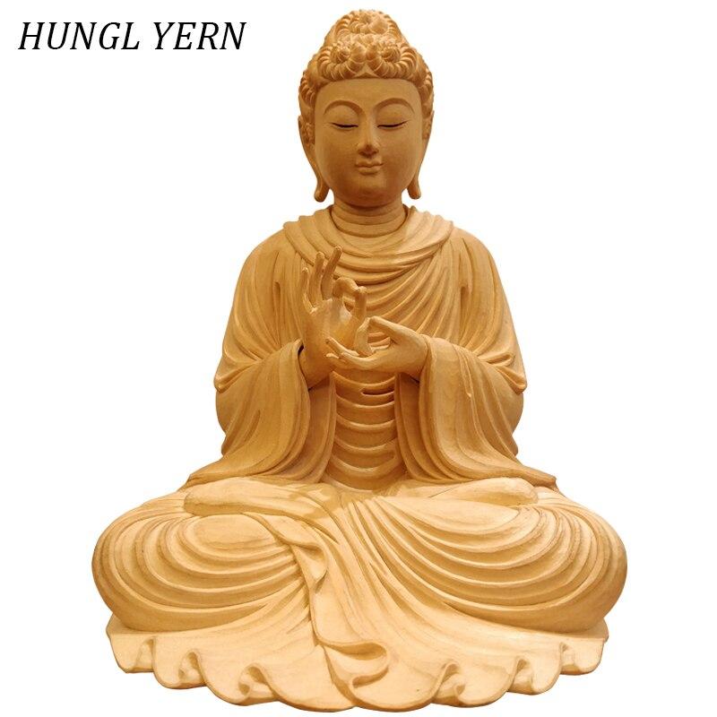 30 cm inde Sakyamuni bouddha Statue Sculpture en bois artisanat fait à la main décor à la maison escultura en bois cyprès buda Statues