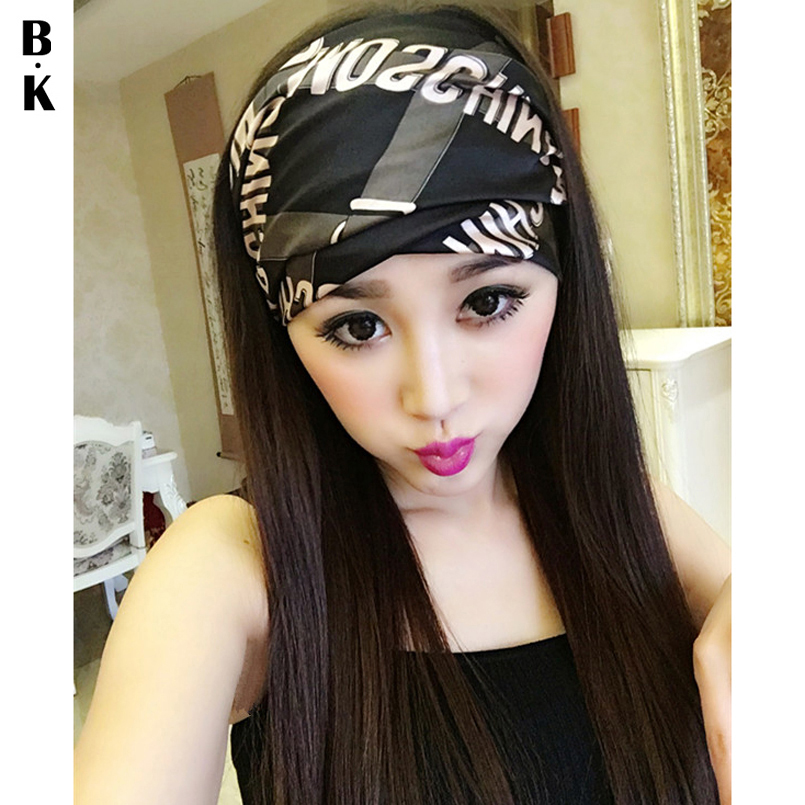 2018 Summer Sexy Lady Headband Wide Satin   Headwear   Micro-elastic Turban Yoga Headwrap Luxury Floral Print Hairbands for Party