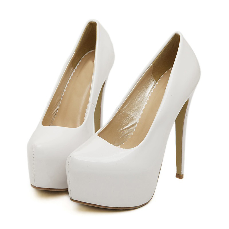50bd90c86a2 2017 Size 35 44 White Patent Leather Sexy 15cm High Heels Wedding Women  Pumps Ladies Platform Shoes Woman Chaussure Femme Talon-in Women s Pumps  from Shoes ...