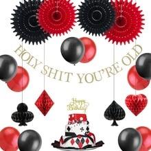 Casino Poker Tema Festa di Compleanno Decorazioni Hanging Banner Nero Rosso Palloncini Cake Toppers di Carta Ventole per Las Vegas Forniture