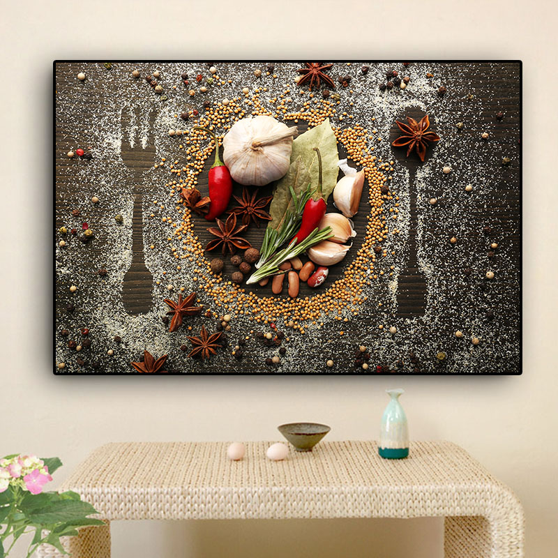 Grains Spices Spoon And  Forks Kitchen Canvas Painting Cuadros Posters And Prints Wall Art Food Picture Living Room Home Decor