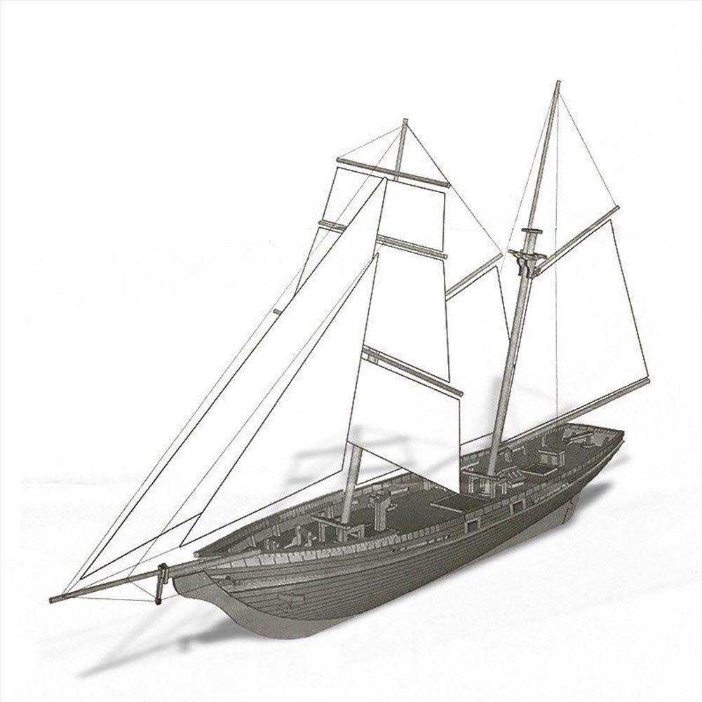 1:70 Wood Ship Model Kits Assembled Classical Sailboat Modeling Wooden Battleship Toy Offer English Instruction