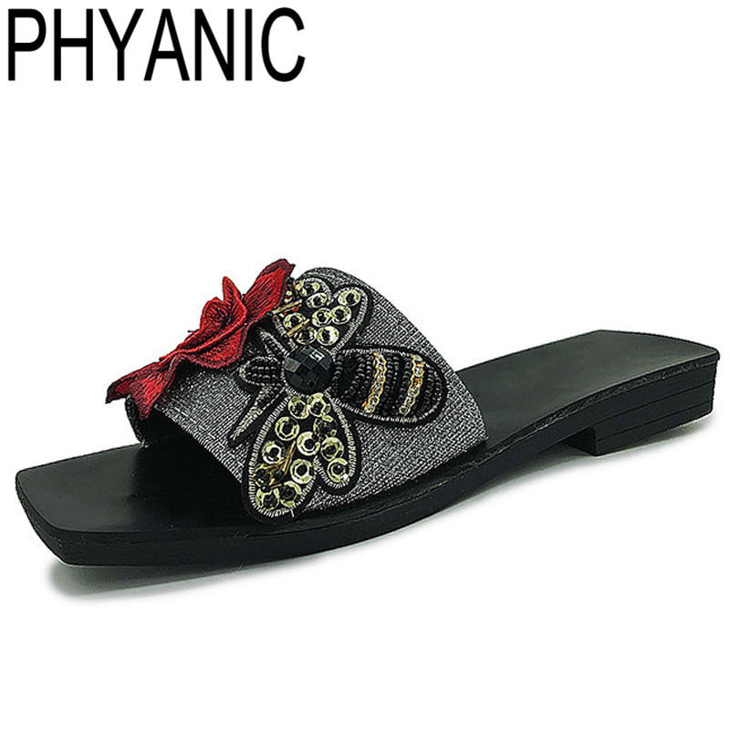 0963184c6c0 PHYANIC Women Embroidered Luxury Crystal Bee Slippers Flower Dress Slides  Pointed Toe Slip On Fashion Shoes Woman PHY35017