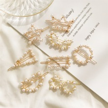 1pcs fashion crystal pearl hairpin star bow flower triangle round Geometry ladies hair clip styling accessories