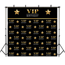 Neoback VIP Birthday Backdrop Step and Repeat Photography Background Gold Black Photo Backdrops