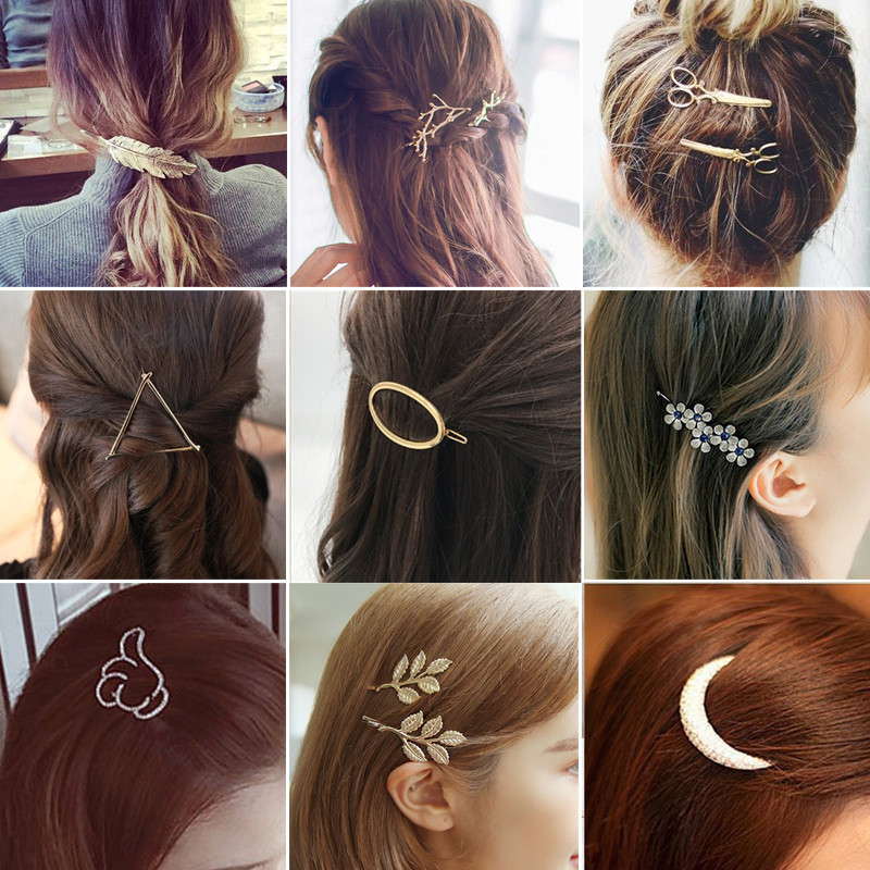 Fashion Geometry Hairpins Women Girls Snap Hair Clips Pin Barrette Accessories For Hair Women Girls Hairclip Headdress   Headwear