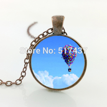 HZ--A400 New Hot Air Ballon Necklace Up Movie Pendant Blue Sky Jewelry Glass Cabochon Necklace Pendant HZ1