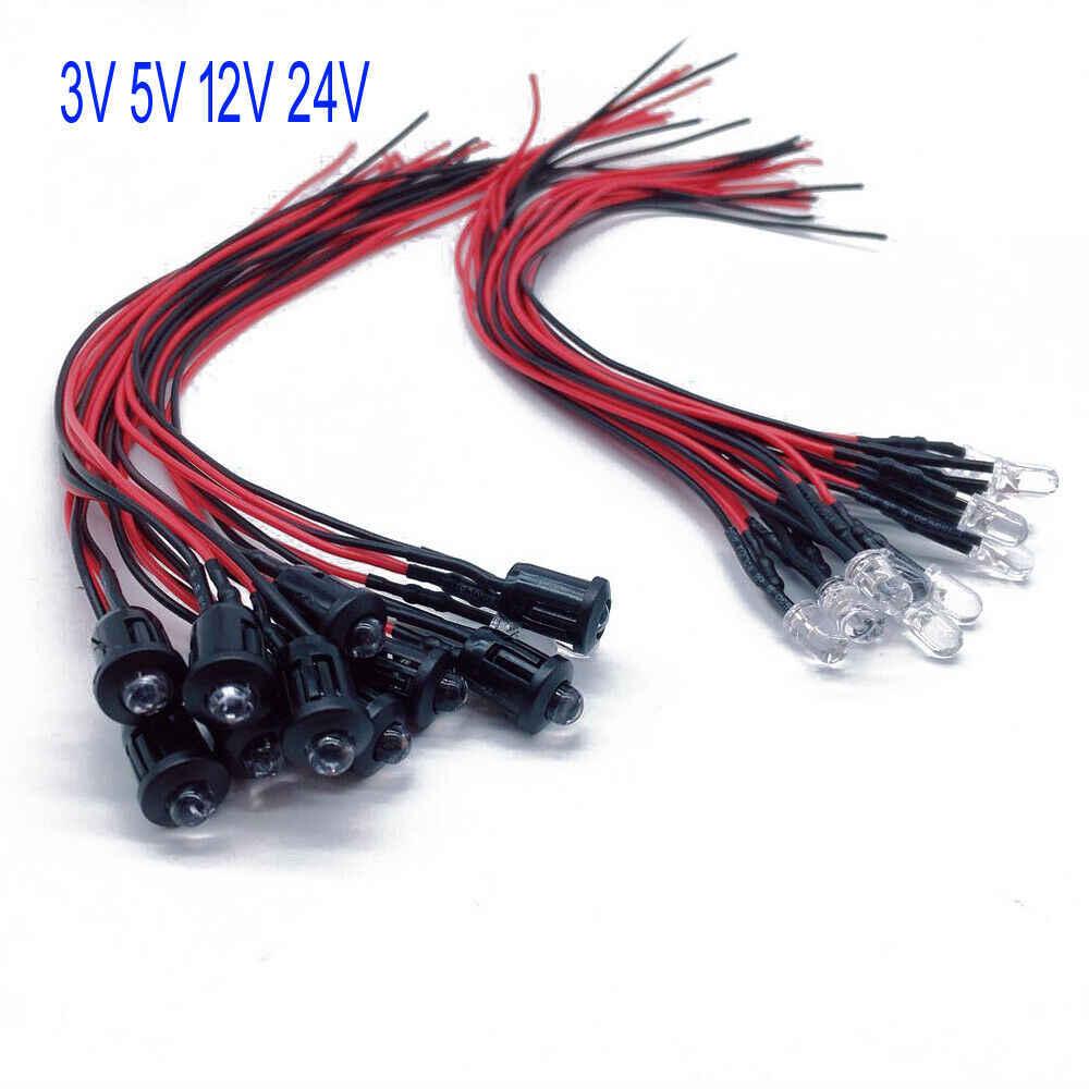 20 peças 3v 5v 12v 24v dc 3mm/5mm vermelho/verde/azul/rgb redondo pré-fio água clara led com suporte de plástico