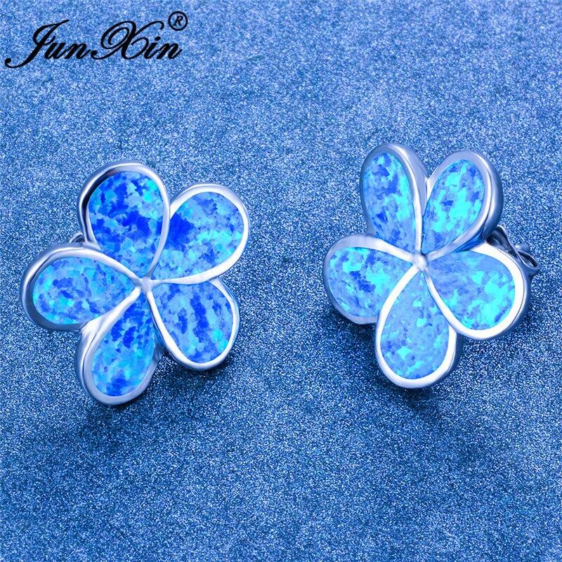 Cute White Blue Fire Opal Earrings Plant Flower Stud Earrings For Women Wedding Earrings Silver Color Engagement Earrings
