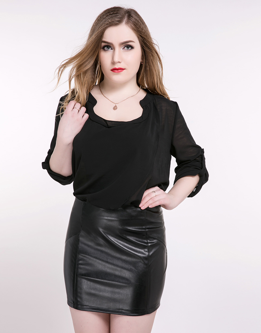 Cute Ann Women\'s Plus Size Faux Leather Skirt Black Red Pu Mini ...