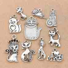 Mix tibetano prata chapeado gato encantos pingentes jóias fazendo colar acessórios pulseira artesanal artesanato 10 pçs/lote