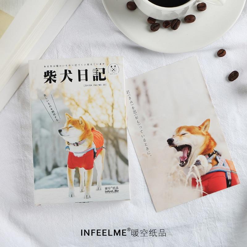 30 Pcs/Set Shiba Inu Dog Diary Series Postcard Greeting Card Birthday Gift Card Message Card