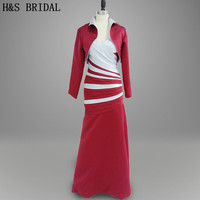 Real photo Evening Wear Formal evening gown Elegant grey and red long sleeves mother of the bride dress with jacket