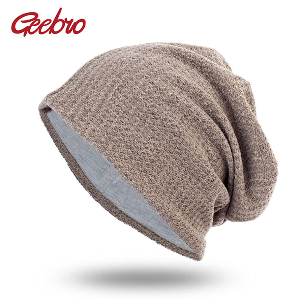 Geebro Spring Women's Bonnet   Beanies   Men's Cotton Solid Stripe Hats For Ladies Soft Comfortable   Skullies     Beanie   Cap DQ410B