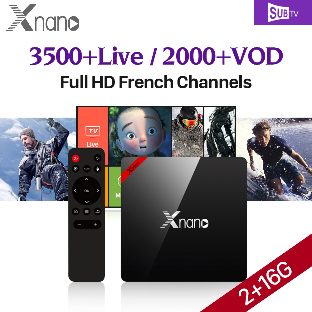 XNANO 2G 16G Amlogic S905X Quad Core Android 6.0 TV Box Wifi 4K + SUBTV IPTV 3500 Channels Europe Arabic Turkish EX-YU IPTV Box x9 pro amlogic s905x 2g 16g 4k tv box tronsmart tsm01