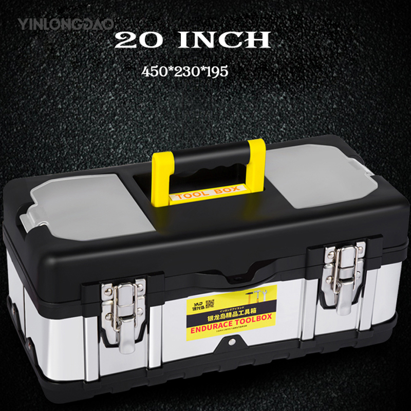Stainless Steel Toolbox Thickening Car Multi-function Portable Home Repair Tools Large Medium Storage Box Iron Repair Tool Box