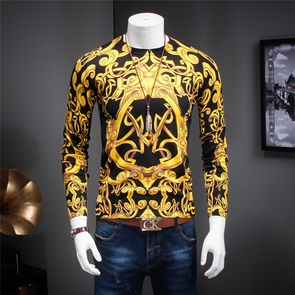 New Autumn And Winter Male Good Quality Fashion Mercerizing Sweater Knitted Sweaters Gold Printing Pattern Slilm