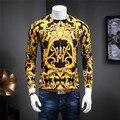 Nova Outono E Inverno Masculino de Boa Qualidade Moda Slilm Mercerização Camisola Blusas de Malha Padrão de Impressão de Ouro Roupas Casuais