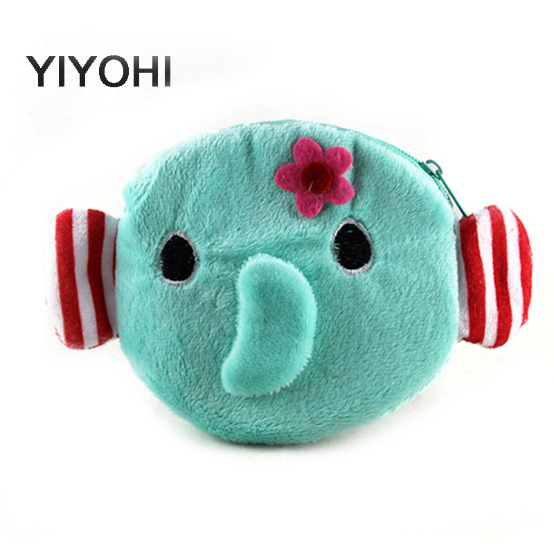 YIYOHI Cartoon Elephent Children Coin Purse Girls Coin Bag Lady Cute Mini Wallet Pouch Women Girl Makeup Buggy Bag Storage Bag