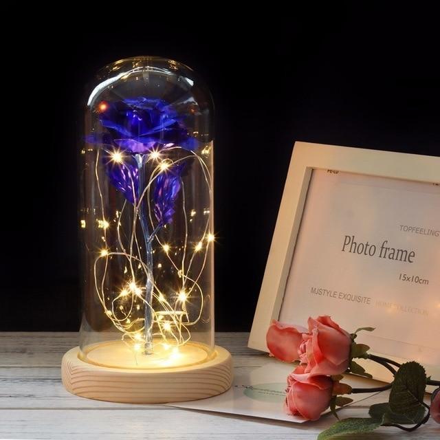 Красавица и Чудовище красная роза в стеклянном куполе на деревянной основе для подарков на день Святого Валентина - Цвет: Синий