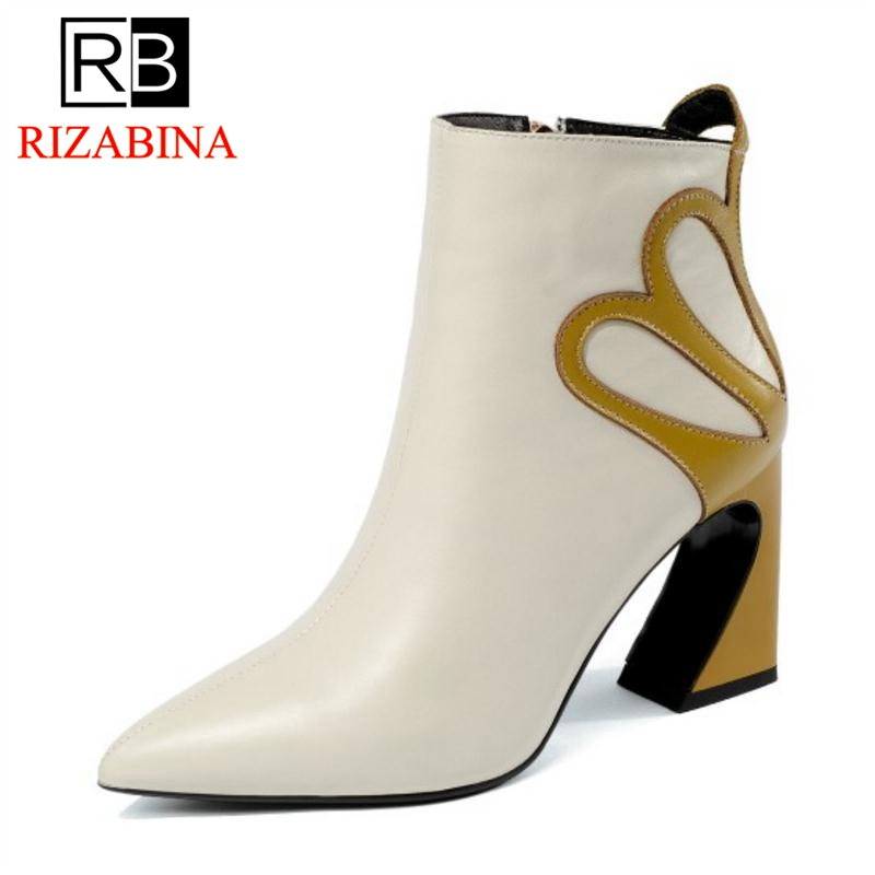 RizaBina New Women Real Leather Boots Winter Ankle Boots High Heels Warm Fur Shoes Woman Fashion Flower Shoes Size 34-39RizaBina New Women Real Leather Boots Winter Ankle Boots High Heels Warm Fur Shoes Woman Fashion Flower Shoes Size 34-39