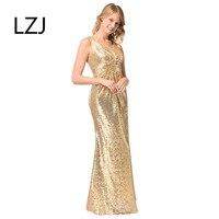 LZJ sexy vàng sequins 2018 giá rẻ váy sâu V cổ áo cổ áo lại chiều dài chiều dài sequins lấp lánh wedding party dress vestidos