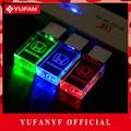 Yufanyf 2017 pendrive 3 colores rojo/azul/verde led honda INSIGNIA del coche del USB falsh unidad 4 GB 8 GB 16 GB 32 GB U Disco de cristal regalo