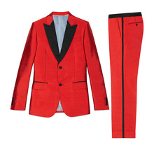2017 RED men suits Groom Tuxedos 2 Pieces Jacket+Pant Wedding Suit For Mens Fashion Tuxedos wedding party Stage performance