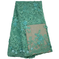 Mint green 3D flower embroidery beaded lace fabric french laces in dubai tulle lace HY0382