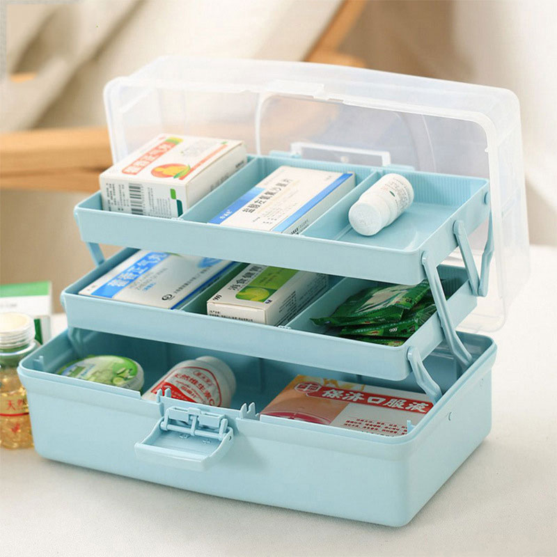 Home Medicine Box Portable Three Floors Multi purpose First Aid Storage Box Large Capacity Medical Kit Plastic storage Organizer-in Storage Boxes & Bins from Home & Garden