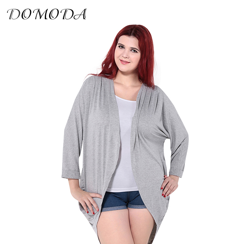 DOMODA Plus Size Autumn Women Loose Cardigan Big Size Long Sleeve Female Ruched Overall Modal Kimono Blouse 3XL 4XL 5XL 6XL