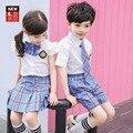 Kinder Kleidung Sets Sommer Jungen Mädchen Hemd + hose/kleid Schuluniform Kleinen Bruder und Schwester Passenden Kleidung Outfits
