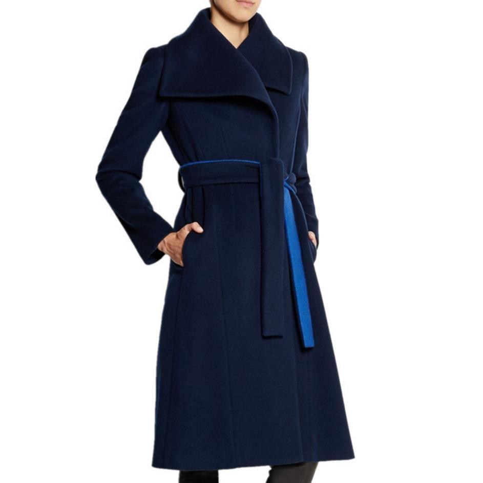 2018 De Mélanges Manteau Cachemire Mode Moyen Femmes Automne Dark D'hiver Laple Grand Ceinturé Laine Blue Long qFnxrpqE7