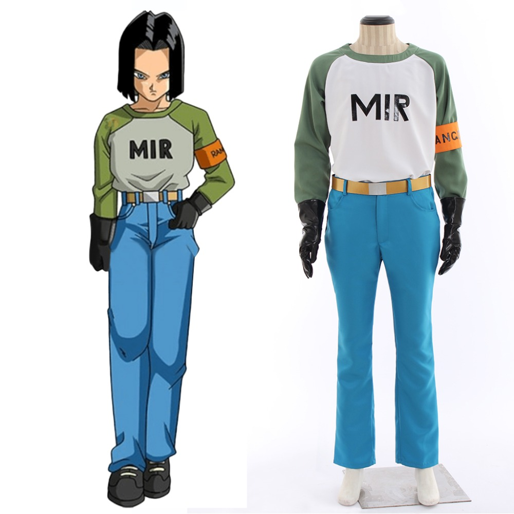 Cosplaydiy Anime Dragon Ball Android 17 Cosplay Costume Adult Mens Womens Top Pants Suit Halloween Costume L320