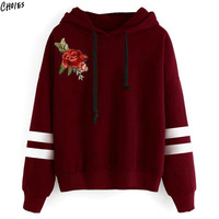 Women Floral Embroidery Hoodie Sweatshirt Autumn Striped Long Sleeve Drawstring Drop Shoulder Balck And Wine Red
