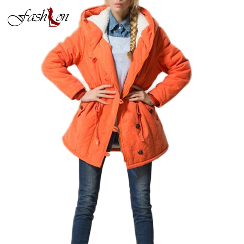 2017 New Arrival Winter Oversize Plus Size Slim Lamb Wool Hooded Thick Jacket Parka with Drawstring Coats Female Women Jackets
