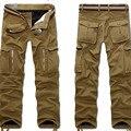 Invierno polar forrado térmica Hombres Overol Pantalón de Carga Caliente Baggy Pant Encuadre de cuerpo entero Multi Pocket Casual Tactical Pantalones Más El tamaño