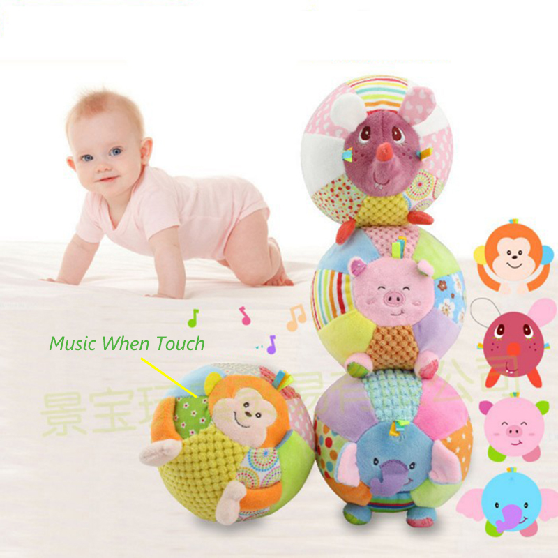 Fun And Sound Balls Baby Rattle Musical Bed Toys Soft Stuffed Animal Mobile Crib Stroller Toy For Infant Educational Toys BI012 shiloh crib mobile infant baby play toys animal bed bell toy mobile cute lovely electric baby music educational toys 60 songs