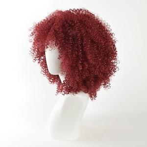 Image 3 - MSIWIGS สีแดงสังเคราะห์ Wigs ผู้หญิงอเมริกันแอฟริกันขนาดกลาง Afro วิกผมคอสเพลย์ทนความร้อน