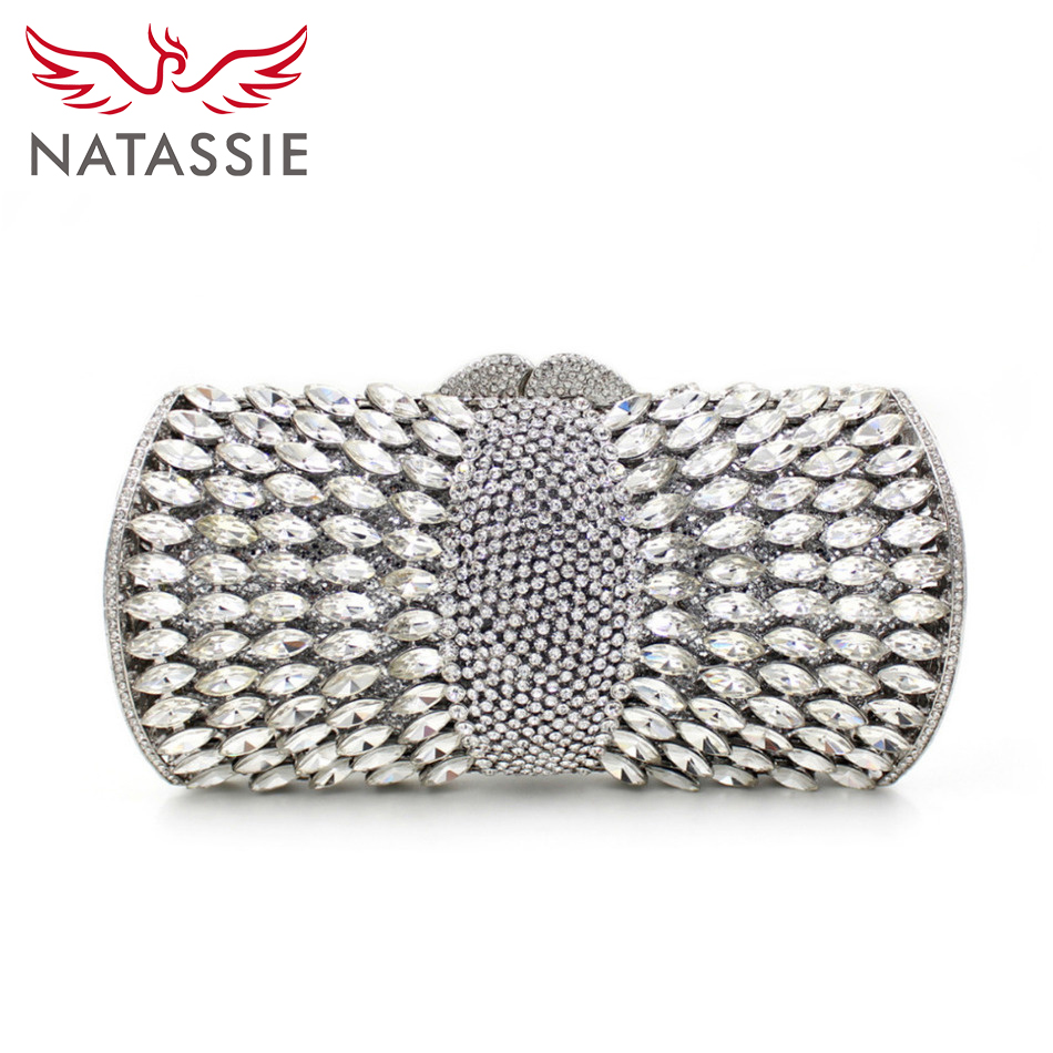 ФОТО NATASSIE Lady Luxury Crystal Clutch Bag Special Design Women Wedding Party Day Clutches With Rhinestones L1045