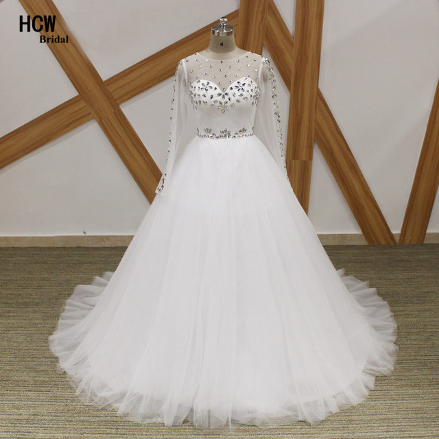 Long Sleeve Wedding Dresses 2018 Bling Crystals Tulle Princess ...