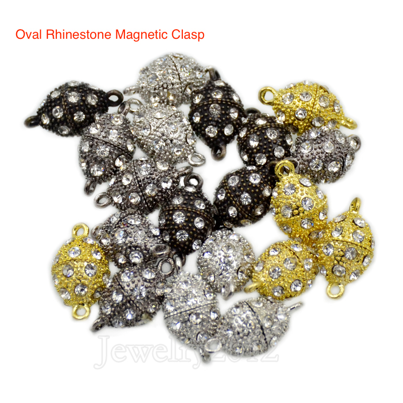 30Sets/Lot Crystal Oval Rhinestone Strong Magnetic Clasp Connector For Bracelet Necklace Making Fashion Silver Gold Wholesale crystal