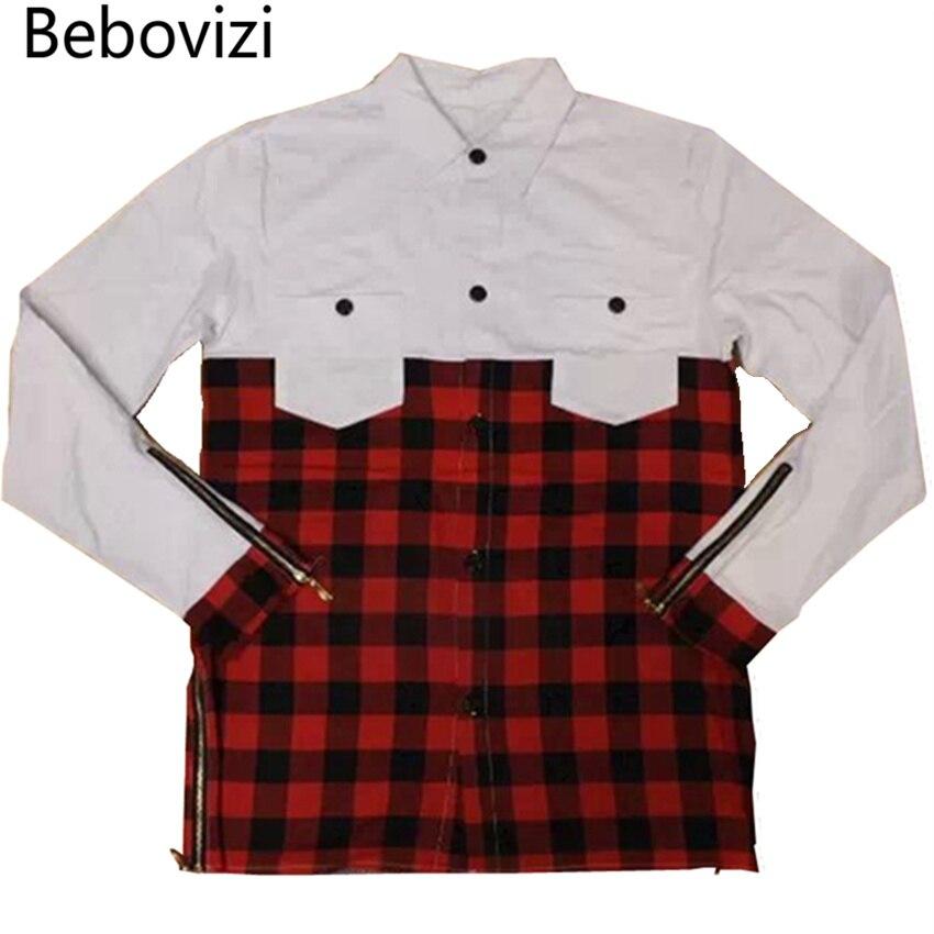 Bebovizi 2018 cool long sleeve t shirt men kanye west design Gold side zipper t shirt hip hop swag tee big oversized tshirts mma in T Shirts from Men 39 s Clothing