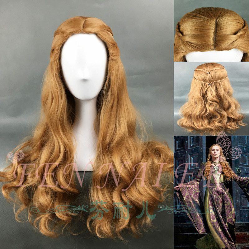 Game of Thrones Cersei Lannister Long Wavy Dark Gold Wig Queen Cersei Brown Wig costumes with Hairnet
