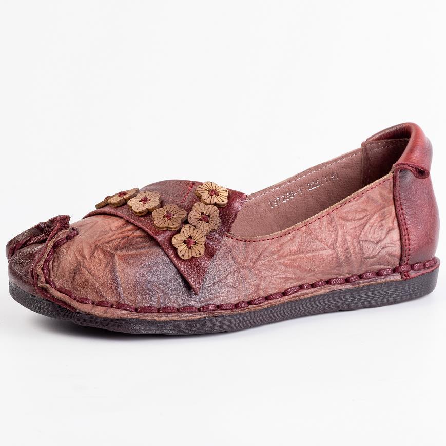 Tête Printemps Été Mère Plates Marche Cuir red Occasionnels Fleurs Gray Véritable Confortables De Nouvelle Femmes Chaussures Baskets En Ronde nvqAxgx