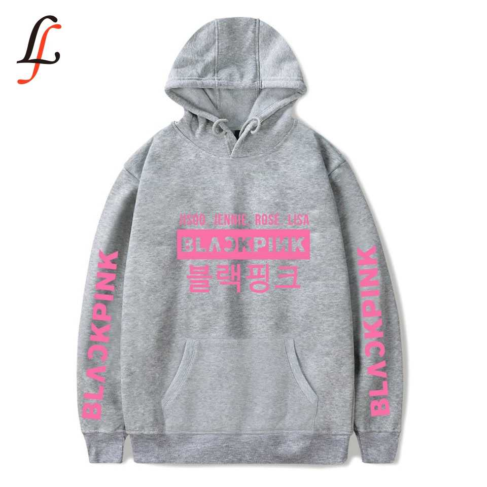 K pop fãs blackpink letras impressão hoodies moletom feminino moda casual kawaii moletom inverno outono panos quentes