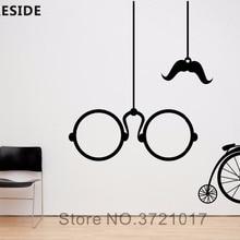 Pegatinas de vinilo para colgar en bicicleta, gafas clásicas, bigote, adhesivo artístico de pared, hogar, sala de estar, decoración de pared, calcomanías M112