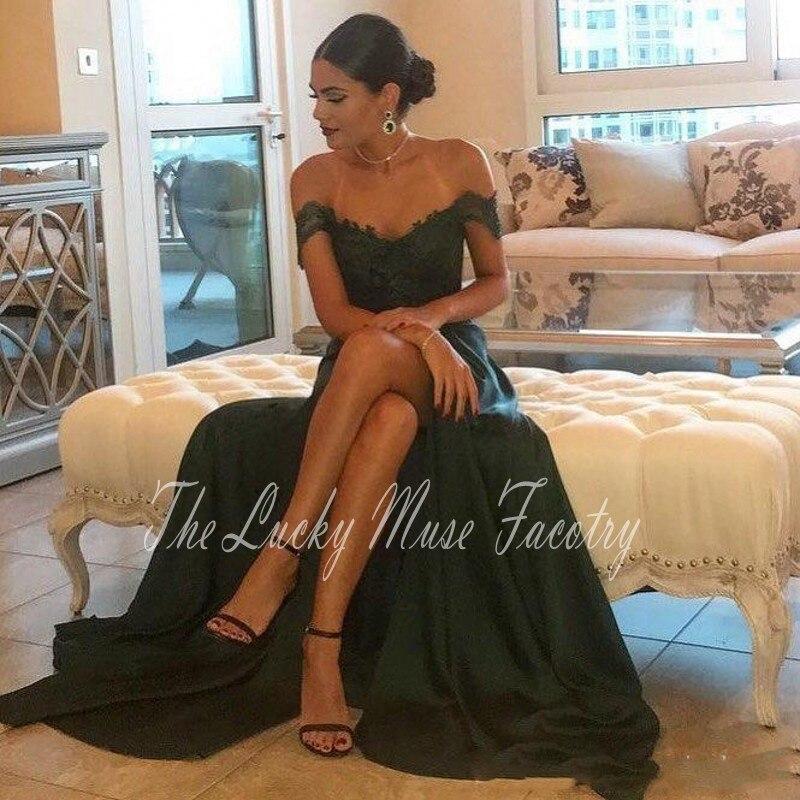 Вечерние платья с высоким разрезом и вырезом; Цвет зеленый; вечерние платья с открытыми плечами и открытой спиной; платья для вечеринок; бол...