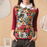AI Yi Han new Korean head long sleeved shirt sweater coat collar two fake female female bottoming sweaters